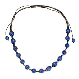 NOVICA Adjustable Length Cotton Macrame Shamballa Necklace with Blue Chalcedony, 'Blissful Harmony'