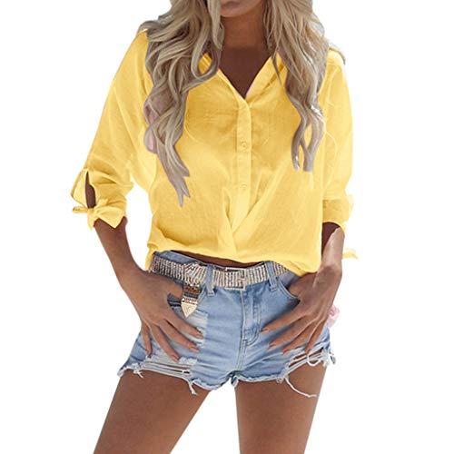 Womens Sexy Loose Short 2019,YEZIJINWomen Summer Beach Solid Basic V Neck Loose Short Button Down Casual Top T-Shirt Yellow
