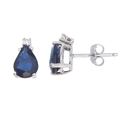 (FB Jewels Solid 14k White Gold Studs Genuine Blue Birthstone Pear Shape Sapphire And Diamond Earrings (3/4)