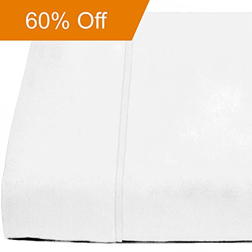 Flat Top Sheet Premium 1800 Ultra-Soft Microfiber Collection - Double Brushed, Hypoallergenic, Wrinkle Resistant, Easy Care (Full - 1 Pack, White)