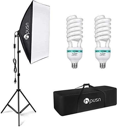 HPUSN Softbox Lighting Kit Photography Studio Light with 20-inch X 28-inch Reflector and 2pcs 85W 5500K E27 Bulb…