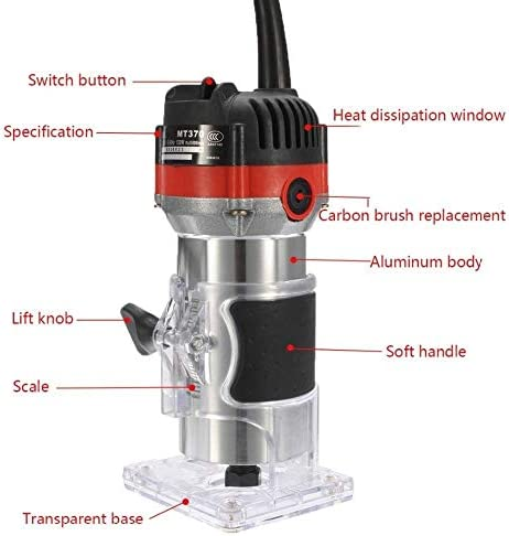 WJW-MUGONGJU, 1pc 1/4'' Hand Electric Trimmer 530W 220V 35000RPM Wood Laminator Router Tool Set Copper Wire Drilling Hole Trimmer For Woodworking