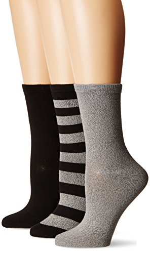 K. Bell Women's Soft and Dreamy 3 Pack Crew, black assorted rugby, Shoe Size: 4-10