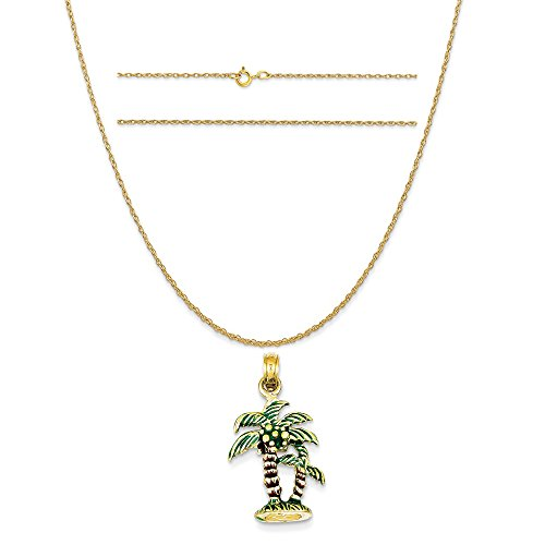 K&C 14k Yellow Gold Enameled Palm Trees Pendant on a 14K Yellow Gold Carded Rope Chain Necklace, 16