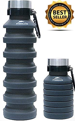 HydroLapse Collapsible Water Bottle, BPA Free, Tactical, Silicone, Lightweight, Collapsing, Leakproof, Foldable Sports Hiking Travel Camping Outdoor Running ...]()