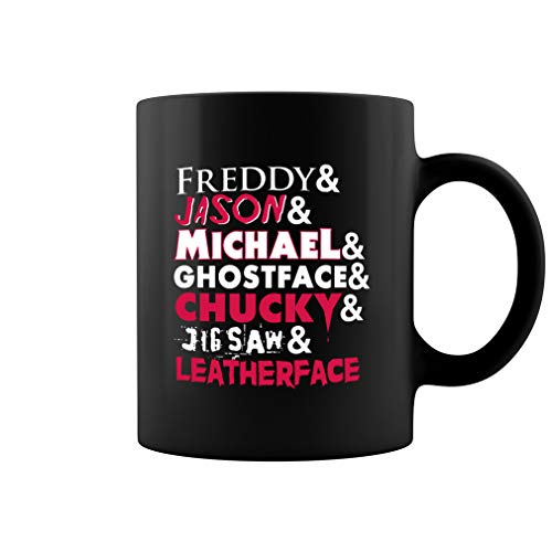 Characters Horror Halloween Name Ceramic Coffee Mug Tea Cup (11oz, Black)