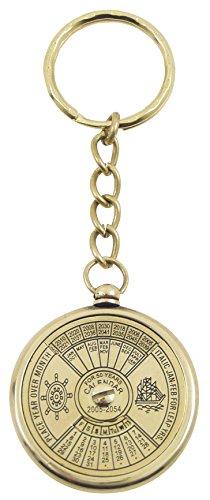 Générique 79150-Year Perpetual Calendar Keyring Made Polished Brass 10x 3.5x 3.5cm