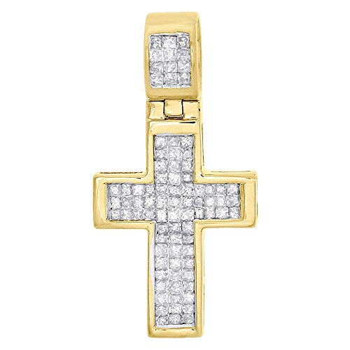 (10K Yellow Gold Princess Cut Diamond Men's Mini Flat Cross Pendant 1.05