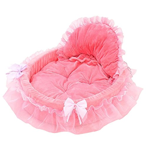 Elevin(TM) Pet Bed, Pet Dog Puppy Princess Bows Lace Heart Elegant Lovely Bed Doghouse Pet Warm Bed (Pink)