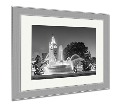 Ashley Framed Prints Kansas City Missouri Fountain At Country Club Plaza, Contemporary Decoration, Black/White, 26x30 (frame size), Silver Frame, - Shops Plaza Club Country