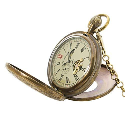 Reloj Bolsillo Mecánicos Antiguos La Cadena Movimiento Cobre Estilo época Oro Los Hombres: Amazon.es: Relojes