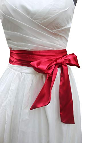 - Wedding satin sash belt for special occasion dress bridal sash (Burgundy)