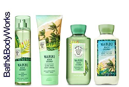Bath and Body Works WAIKIKI BEACH COCONUT Gift Set - Body Lotion - Body Cream - Fragrance Mist & Shower Gel -Full size by Bath & Body Works