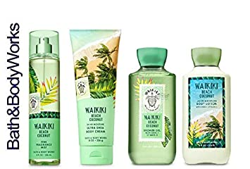 Bath And Body Works Waikiki Beach Coconut Gift Set Body Lotion Body Cream Fragrance Mist Shower Gel Full Size
