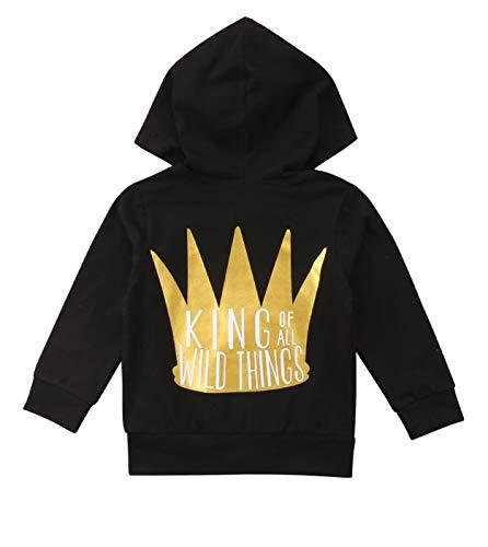 Unisex Boys Girls Zipper Hooded Sweatshirt with Kangaroo Pockets King Crown Print Hoodie Casual Outdoor Outfit (Black, 1-2 Years) -