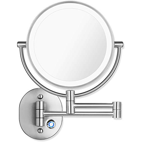 Pansonite LED Wall Mount Makeup Mirror with 10x Magnification, 8.5'' Double Sided - A Up Plain Bathroom Dress Mirrors