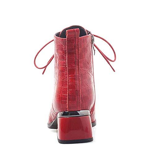 Da Li Red Miss Pelle Tacco Goffrata Esterno Spillo Quadrato Sportive Martellata Scarpe Donna A Stivaletti Rilievo In REffqSH