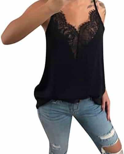 8e3e8cfc YEZIJIN Women Lace Vest Sleeveless Loose Camisole Casual V-Neck Tank Tops  Blouse 2019 New