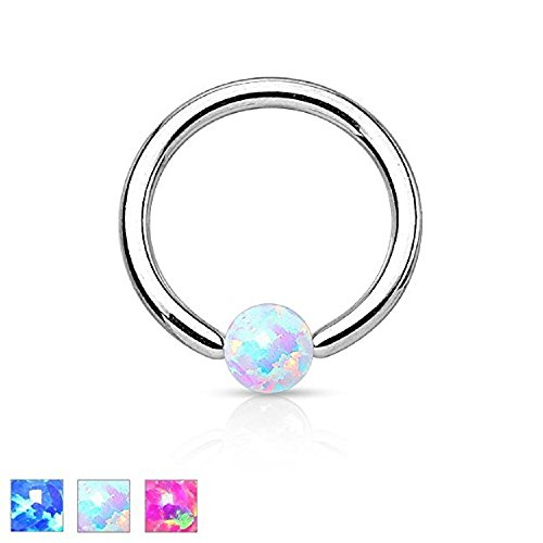 Freedom Fashion Synthetic Opal Ball 316L Surgical Steel Captive Bead Ring (Sold Individually)