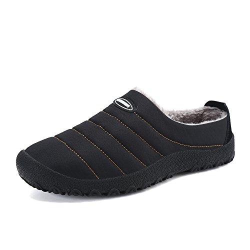 Voovix Noir et d'extérieur d'intérieur pour Femme Unisexes et Chaussures d'hiver Chaud Imperméables Homme Chaussons Pantoufles BwCr6qB