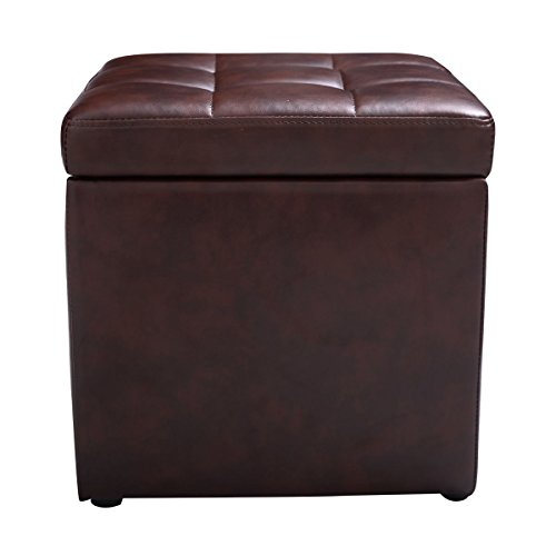 Brown Cube Ottoman Pouffe Storage Box Lounge Seat Footstools with Hinge Top New