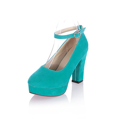 Lucksender Womens Closed Round Toe Platform High Chunky Heel Frosted PU Solid Mary Jane Pumps whith Charms Green BbC2YN