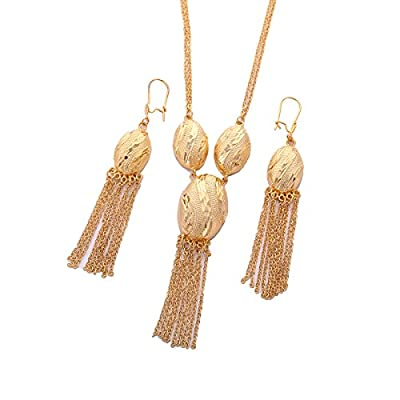 Discount Gold Plated Geometry Necklace Earrings Jewelry Tassel Set Ethiopian Dubai India Gold Jewelry for cheap