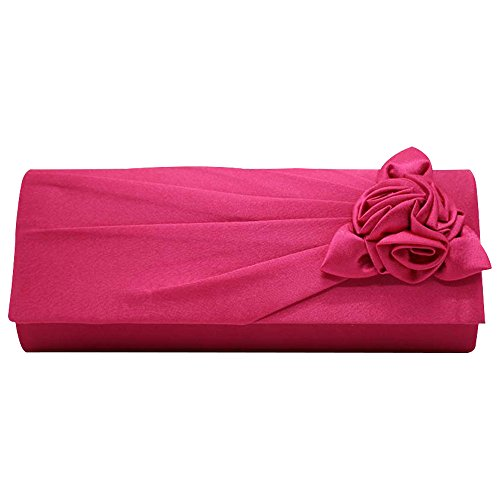 Strap Handbag Shoulder Evening Women's Rose Clutch Bag Wocharm Hot Bouquet Party Wedding Pink With Clutch Satin Eq0CgfwEx