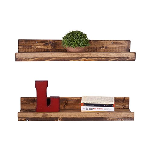 DAKODA LOVE Handmade Pine Wood (5H x 24W x 7D) Rustic Luxe Floating Shelves, Dark Walnut (Set of 2)