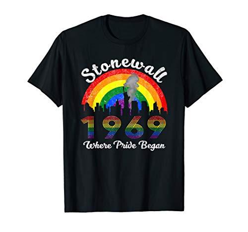 Stonewall 1969 Where Pride Began Vintage Rainbow Tshirt T-Shirt