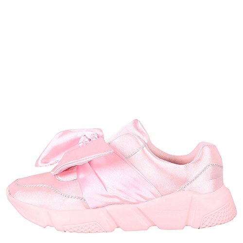 Gym Toe Fitness Round Pink Womens Tranier Bow Jogging Link Sneakers Lace Forever Up Fashion zqSwRtS