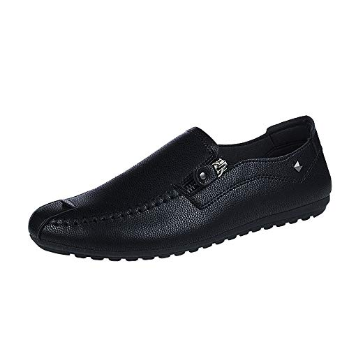 Hunzed Men【Flat Leather Shoes】Clearance Men's Slip On Leather Shoes Fashion Casual Slip-On Driving Dress Loafers - Vans Plaid On Slip