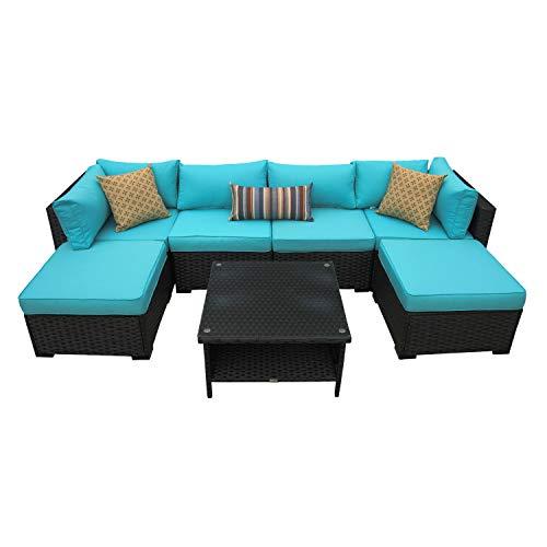 Outdoor Patio Rattan Wicker Sofa 7 Piece Sectional Conversation Furniture Set Black/Turquoise