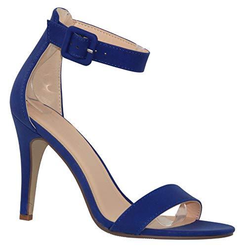 MVE Shoes Women's Single Ankle Strap-Classy Kitten Heeled Sandal, Juicy Cobalt nb 7
