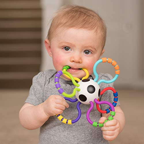 41CDH%2BkEO0L - Sassy Grip & Rattle Ball | Developmental Toy for Early Learning | Flexible, Soft Plastic is Safe for Mouthing | Strengthens Hand-Eye Coordination | For Ages 3 Months and Up