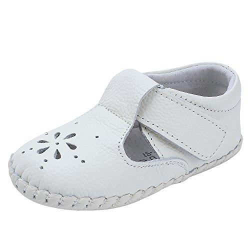Kuner Baby Girls Genuine Leather Anti-Slip Summer Prewalker Toddler Sandals First Walkers Outdoor Shoes