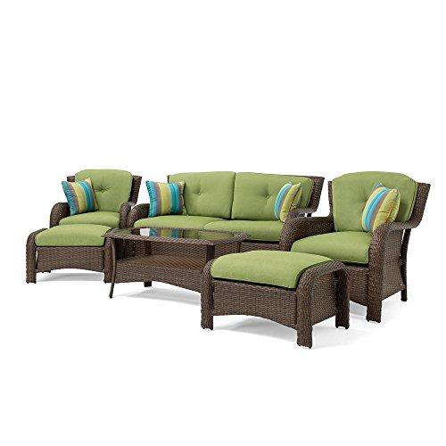 La Z Boy Outdoor Sawyer 6 Piece Resin Wicker Patio Furniture Conversation  Set (Cilantro Green) With All Weather Sunbrella Cushions