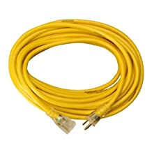 Yellow Jacket 2887 14/3 50-Feet 15-Amp Heavy-Duty SJTW Contractor Extension Cord with Lighted Ends