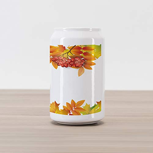 Ambesonne Rowan Cola Can Shape Piggy Bank, Autumn Branches Border Design with Ashberries and Dried Leaves Graphic, Ceramic Cola Shaped Coin Box Money Bank for Cash Saving, Yellow Orange Lime Green