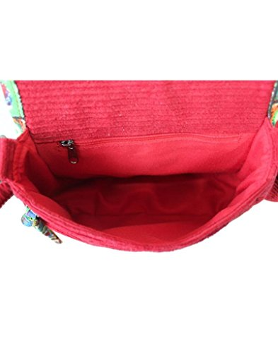 Assorted Corduroy Whimsical Canvas Red Women's Sling and Anekaant Printed Bag 1gvxw8