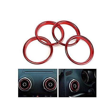 Alamor 4Pcs Anillos Decorativos del Mercado del Acondicionador De Aire Brillante Círculo Rojo para Audi A3: Amazon.es: Hogar