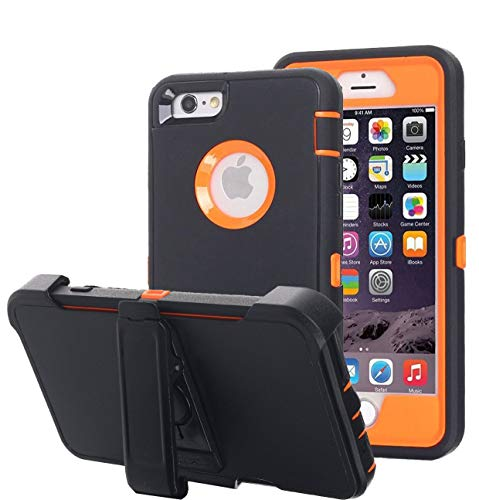 Annymall Case Compatible for iPhone 8 & iPhone 7, Heavy Duty [with Kickstand] [Built-in Screen Protector] Tough 4 in1 Rugged Shorkproof Cover for Apple iPhone 7 / iPhone 8 (Orange) (Iphone 4 Orange Screen)