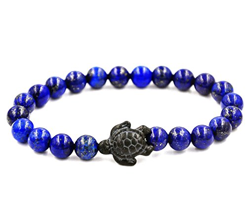 Mainbead Turtle energy Bracelet Tiger-Eye Bracelet with Turtle in black Turquoise Turtle Bracelet (Blue Lapis)