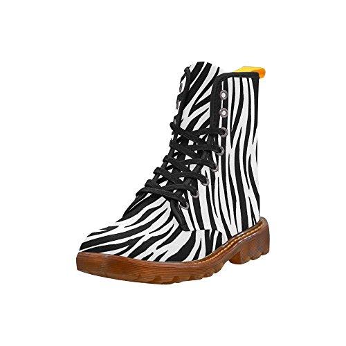 Scarpe D-story Zebra Pelle Martellata Stivali Martin Per Le Donne