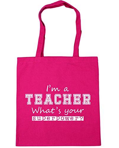 What's Superpower Bag Fuchsia Your Shopping I'm Gym Teacher Beach x38cm a Tote litres 10 HippoWarehouse 42cm wxqfnZn