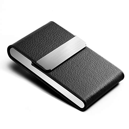 MaxGear Professional Business Card Holder PU Leather Business Card Case Name Card Holder Slim Business Card Wallet Business Card Carrier Slim Metal Pocket Card Holder with Magnetic Shut Black