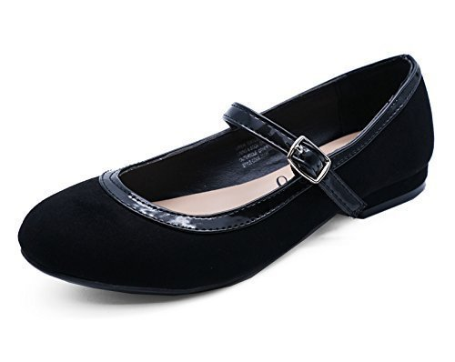 HeelzSoHigh Mädchen Kinder Schwarz Schul Smart Flache Schuhe Puppe Ballerinas Pumps UK 10-6