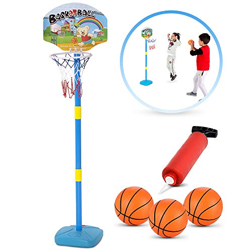 BRITENWAY Kids Basketball Hoop Play Set - Adjustable Height 25-52 Inches - Ideal for Toddlers Kids & Adults, Ages 3 Years and Up -Indoor - Outdoor Play, Sturdy Durable & Safe