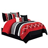 red and white chevron quilt - Chezmoi Collection Arden by 7 Pieces Modern Pleated Stripe Embroidered Zigzag Bedding Comforter Set (King, Red/Gray/Black/Off-White)