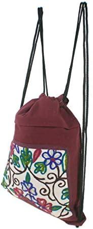 CAL FUSTER -Mochila Saco de Bolsa de Cuerdas Hippie étnico Tela algodón Color Granate. Medidas: 40x33 cm. Aprox.: Amazon.es: Equipaje